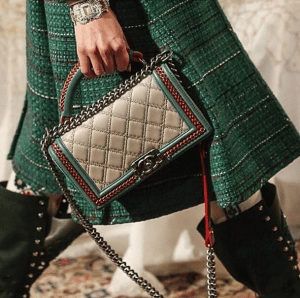 Chanel Beige/Red/Green Boy Bag - Pre-Fall 2015 Runway