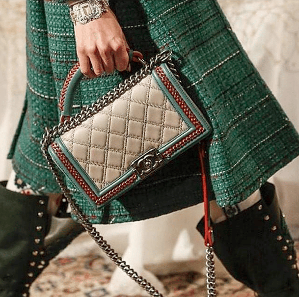 60255bc7f95 Chanel Beige Red Green Boy Bag - Pre-Fall 2015 Runway. IG  33.blogq8