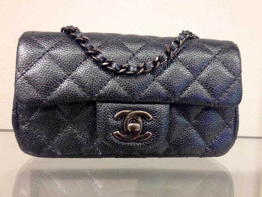 Gallery Chanel Indigo Patent Classic Flap Extra Mini Bag