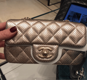 Chanel Gold Perforated Classic Flap Extra Mini Bag