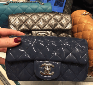 Chanel Indigo Patent Classic Flap Extra MIni Bag