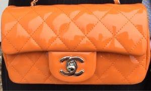 Chanel Orange Patent Classic Flap Extra Mini Bag