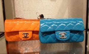 Chanel Orange/Turquoise Patent Classic Flap Extra Mini Bags