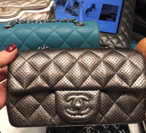 Chanel Silver Perforated Classic Flap Extra Mini Bag