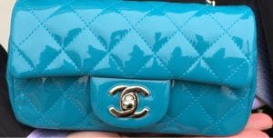 Chanel Turquoise Patent Classic Flap Extra Mini Bag