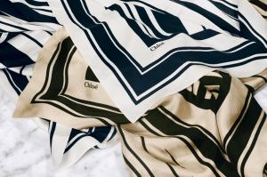 Chloe Beige / Navy Oversize Square Striped Silk Scarves