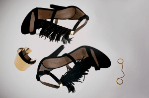 Chloe Black Daniella Fringed Sandals / Gold Erika Brass Cuff / Gold Carly Brass Double Ring