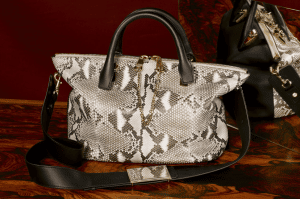 Chloe Black/Abstract White Python Baylee Bag