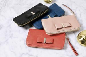 Chloe Black/Factory Blue/Terracota Pink/Coral Pop Bow Long Zipped Wallets