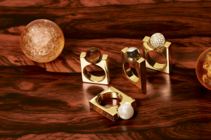Chloe Darcey Brass and Pearl : Brass and Natural Stone / Brass / Brass and Crystals Square Rings