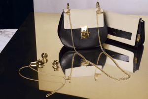 Chloe Gold Brass Pendant Necklace / Oversize Ring / Black/Abstract White Drew Bag and Elle Clutch