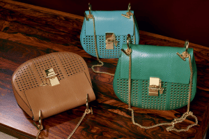 Chloe Hazel Brown / Washed Blue / Stone Green Perforated Ayers Drew Bags