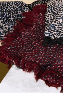 Chloe Ocean Blue/Burgundy/Beige Animal Print Oversize Cashmere Scarves