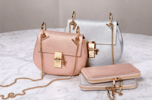 Chloe Pink Gold/Silver Drew Bags and Baylee Long Zipped Wallets