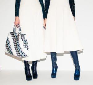 Dior White Printed Diorissimo Tote Bag 3 - Pre-Fall 2015