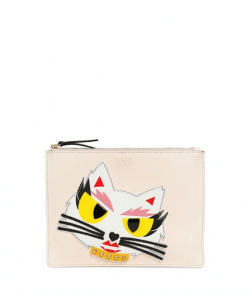 Karl Lagerfeld Cream Monster Choupette Coated Canvas Pouch