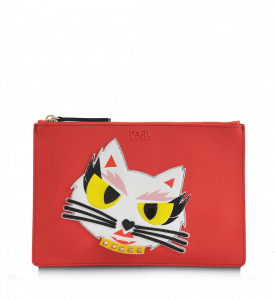 Karl Lagerfeld Red Monster Choupette Coated Canvas Pouch