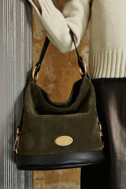 3ae44d396b44 Mulberry Green Black Suede Leather Jamie Bucket Bag - Pre-Fall 2015