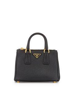 Prada Black Saffiano Mini Galleria Crossbody Bag