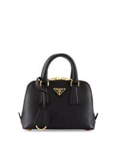 Prada Black Saffiano Mini Promenade Bag