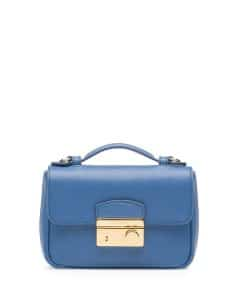 Prada Blue Saffiano Mini Crossbody Clutch Bag