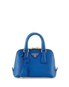 Prada Blue Saffiano Mini Promenade Bag