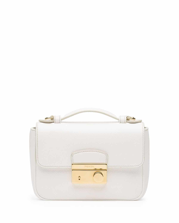 c32a0f514321 Prada White Saffiano Mini Crossbody Clutch Bag
