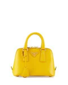 Prada Yellow Saffiano Mini Promenade Bag