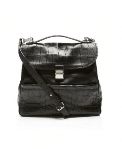 Proenza Schouler Black Matte Crocodile Kent Bag