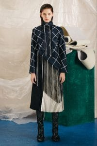 Proenza Schouler Black Plaid Sweater with Fringe - Pre-Fall 2015
