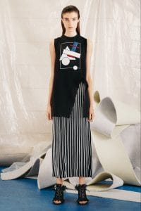 Proenza Schouler Black Printed Shirt and Pleated Skirt - Pre-Fall 2015