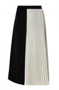 Proenza Schouler Black and Off White Wool Suiting Pleated Skirt