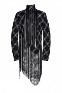 Proenza Schouler Fringe Basket Weave Plaid Long Sleeve Top