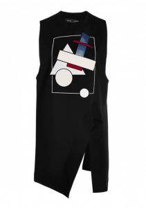 Proenza Schouler Sleeveless Bonded Graphic Jersey Asymmetric Top