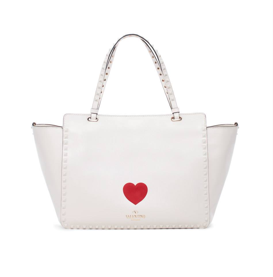 Valentino White With Heart Rockstud Tote Bag
