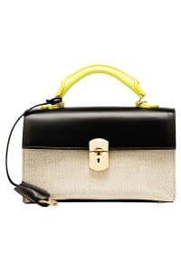 Balenciaga Black/Yellow Leather/Canvas Padlock Any Time Bag