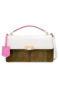 Balenciaga Khaki/White/Pink Python:Leather Le Dix Bag