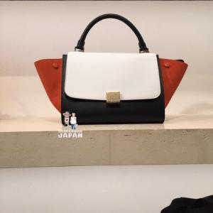 Celine Black/White/Orange Calfskin/Suede Trapeze Mini Bag - Spring 2015