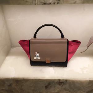 Celine Pink/Brown/Black Calfskin/Suede Trapeze Mini Bag - Spring 2015