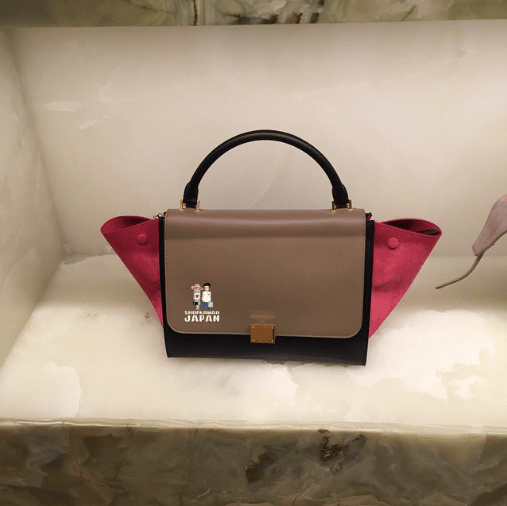 celine pink suede handbag