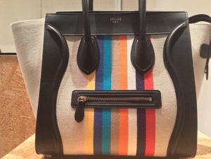 Celine Striped Canvas/Calfskin Mini Luggage Bag - Spring 2015