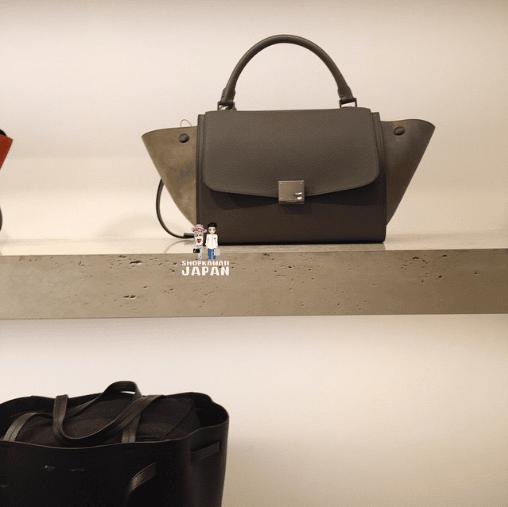 celine grey suede handbag trapeze