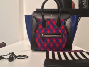 Celine Violet/Pink/Black Houndstooth Print Mini Luggage Bag - Spring 2015