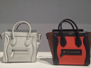 Celine White Nano and Orange/Black Mini Luggage Bags - Spring 2015