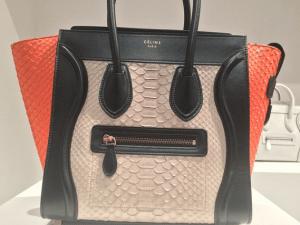 Celine White/Black/Orange Python Mini Luggage Bag - Spring 2015