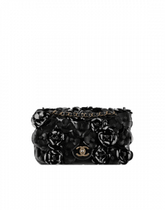 Chanel Black Camellia Embellished Flap Mini Bag - Spring 2015 Act 1