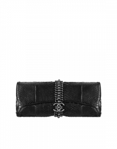 Chanel Black Python Evening Clutch with Chain Bag - Spring 2015 Act 1