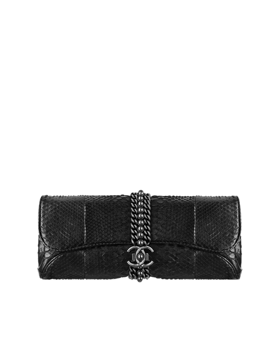 Chanel Black Python Evening Clutch With Chain Bag Spring 2017 Act 1