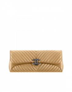 Chanel Gold Chevron Evening Clutch Bag - Spring 2015 Act 1