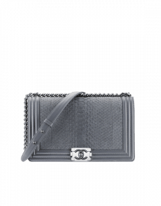 Chanel Grey Python Boy Flap New Medium Bag - Spring 2015 Act 1